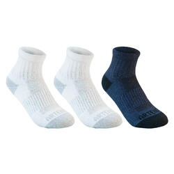 Kids' Mid Sports Socks RS 500 Tri-Pack - White/Navy