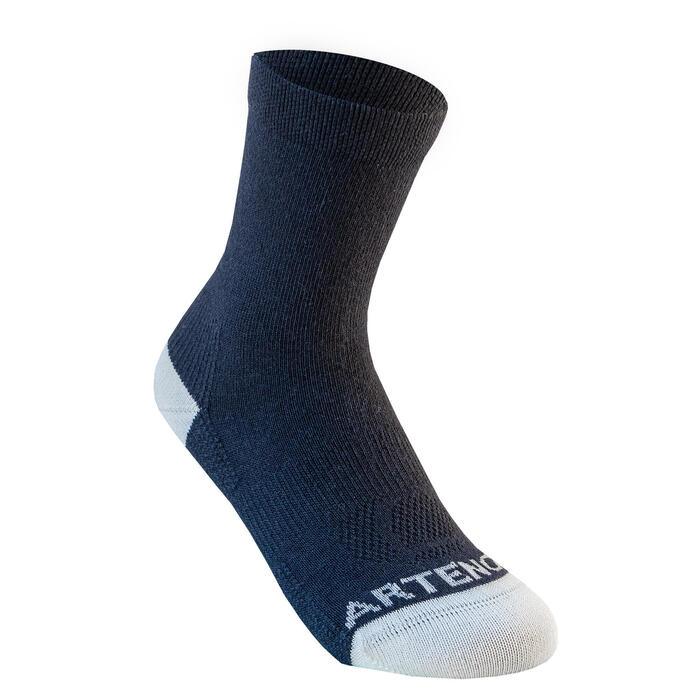 Kids' High Sports Socks Tri-Pack RS 160 - White/Navy/White