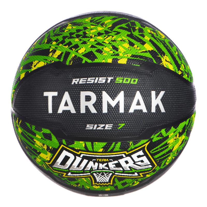 Ballon de basket homme R500 T7 7 Vert Noir à partir de 13 ans pour débuter.