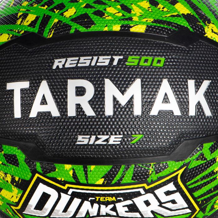 Basketball Resist R500 Größe 7 ab 13 Jahren grün/schwarz
