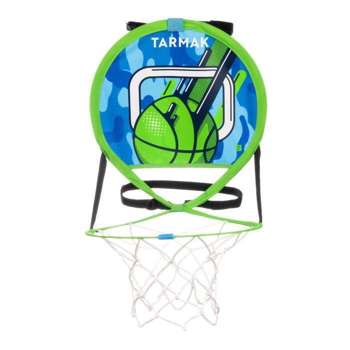 Panier de basket nomade avec ballon pour enfant adulte HOOP 100 vert bleu