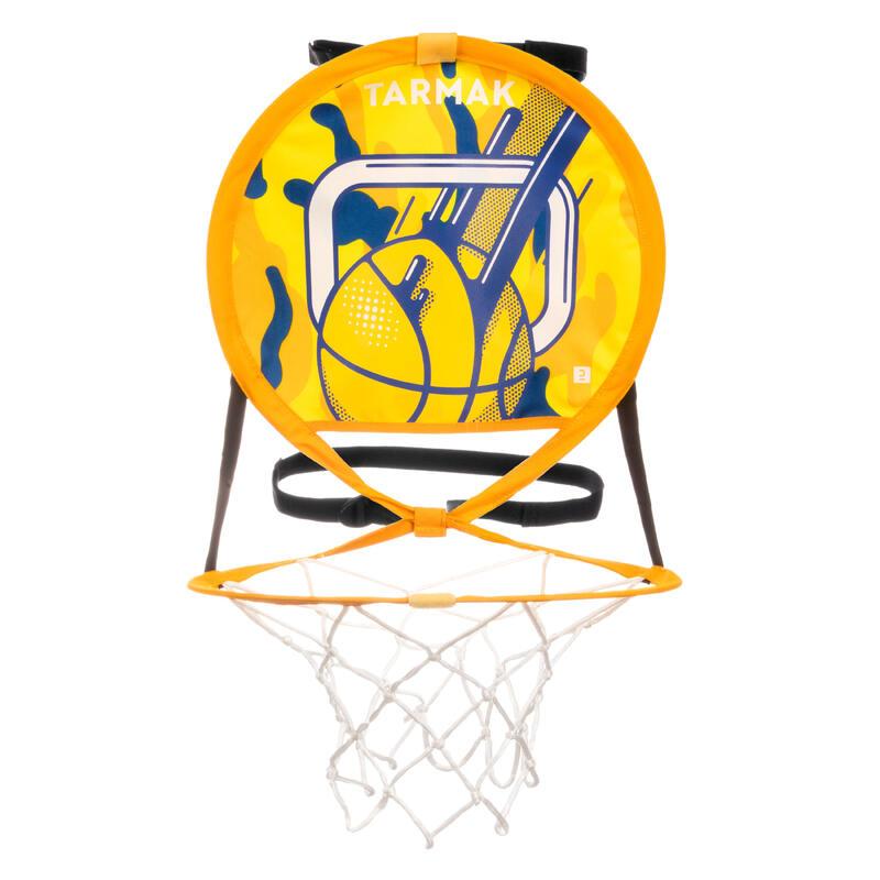 Tablero Baloncesto Tarmak HOOP 100 transportable con balón amarillo azul