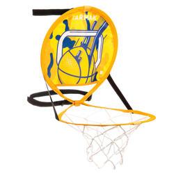 Panier de basket nomade avec ballon pour enfant adulte HOOP 100 jaune bleu
