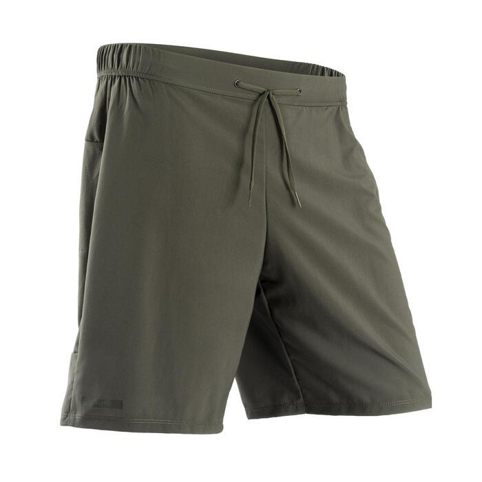 男款透氣跑步短褲KALENJI DRY+ - 灰色卡其色