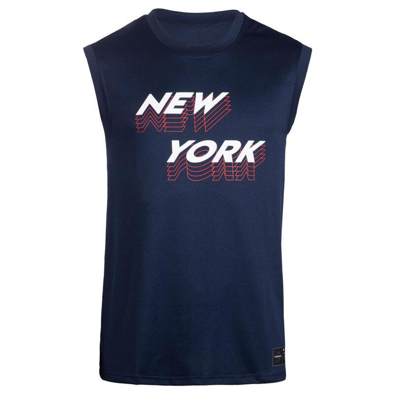 Mouwloos basketbalshirt voor heren TS500 BLAUW NEW YORK