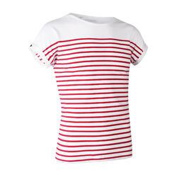 女款短袖航海T恤 100-白色/紅色