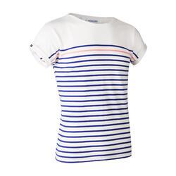 女款短袖航海T恤 100-白色/藍色