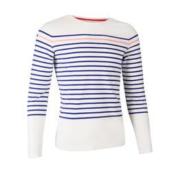 女款長袖T恤SAILING 100-白色/藍色