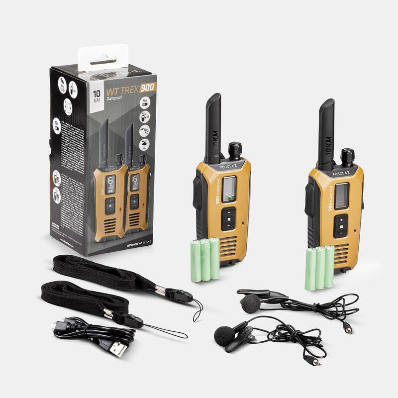 Set de 2 Walkie Talkie etanșe și încărcabile prin USB Trekking TREK 900 10km