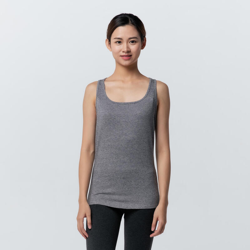 Stretchy Cotton Fitness Tank Top - Grey Print