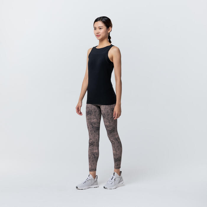 Stretchy Cotton Fitness Tank Top with Built-In Bra - Black