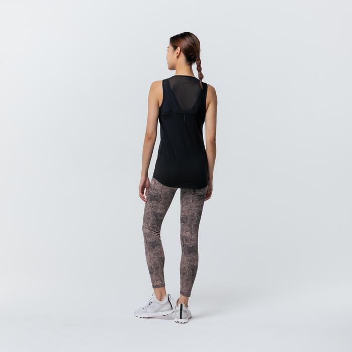 彈性棉質內置內衣健身背心 - 黑色