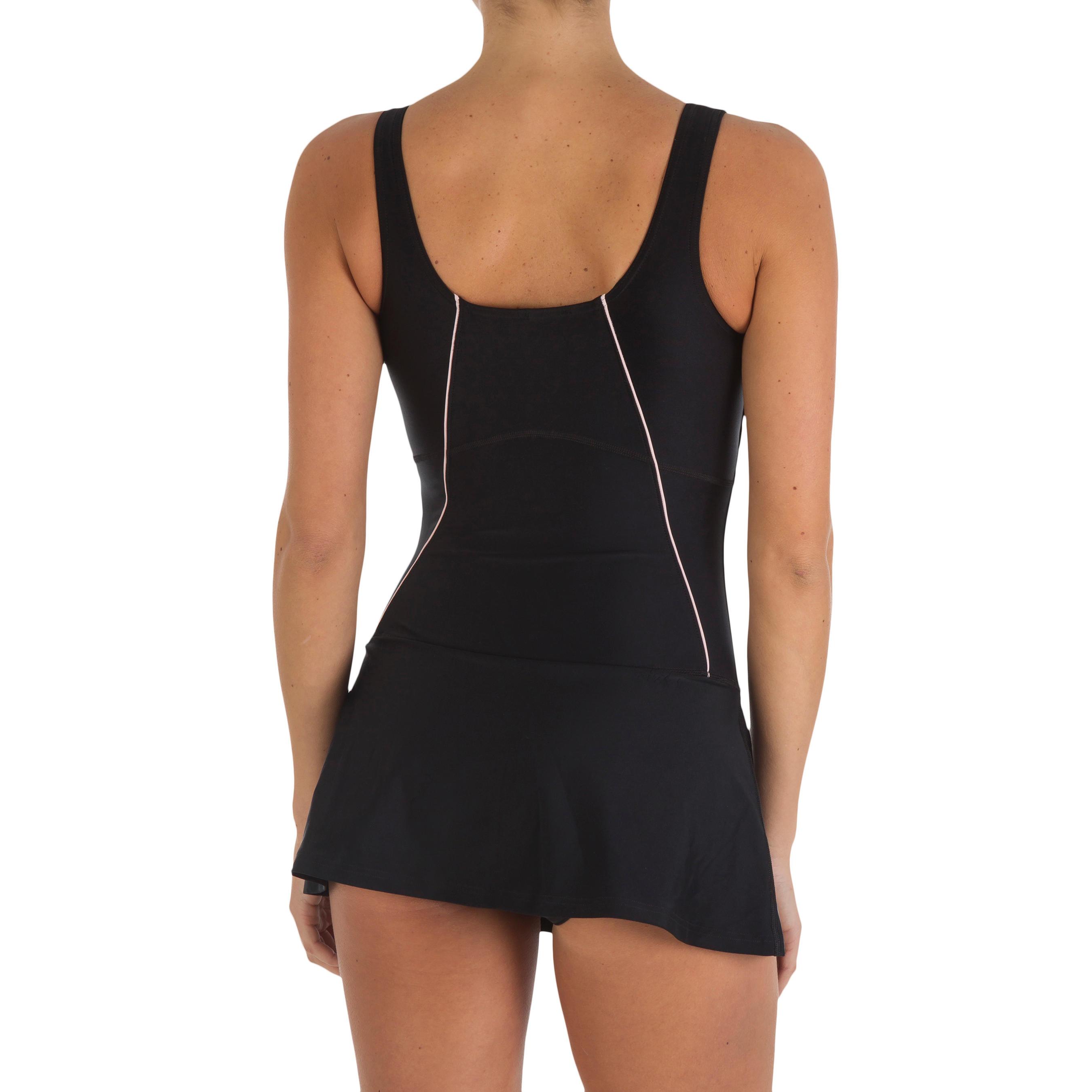 Women Swimming Costume Sleeveless with skirt - Black