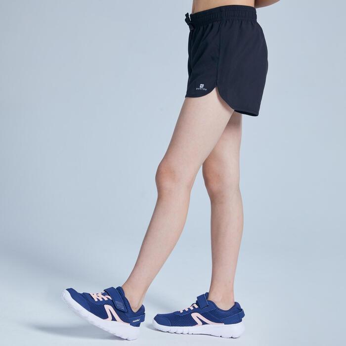 女童透氣健身短褲W500 - 黑色