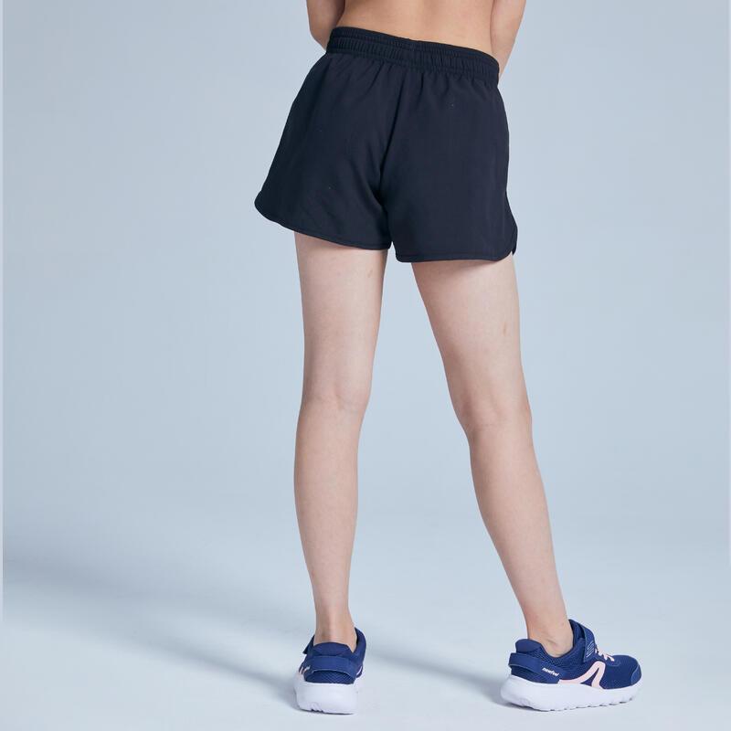 Girls' Breathable Gym Shorts W500 - Black