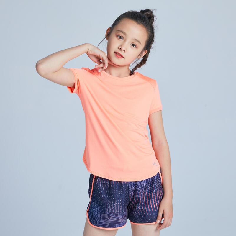 Ademend T-shirt voor meisjes koraal met opdruk