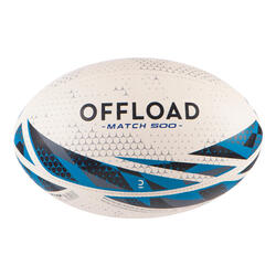 BALLON DE RUGBY R500 Taille 5 match Blanc