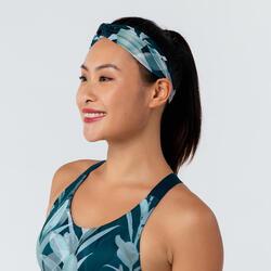女款有氧健身訓練彈力頭帶 - 印花綠色