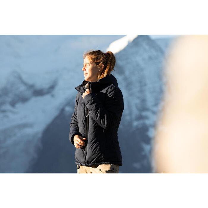 Doudoune en ouate de trek - Confort -10° - TREK 500 Capuche Bleu Marine - Femme