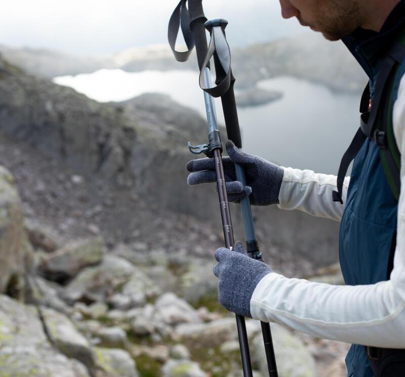 Using the external lock on trekking poles