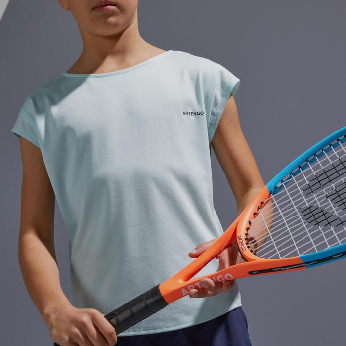 Tennis Shirt 500 Mädchen hellgrün