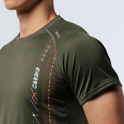 機能健身T恤 - 卡其色/米色線條