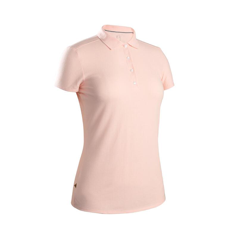 Women's golf short-sleeved polo shirt MW500 pale pink