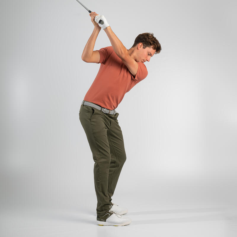 Men's golf short-sleeved polo shirt MW500 terracotta