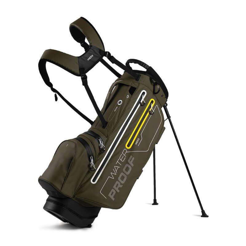 GOLFTÁSKÁK KÖZÉPHALADÓKNAK & HALADÓKNAK Golf - Golftáska Waterproof, khaki INESIS - Golf