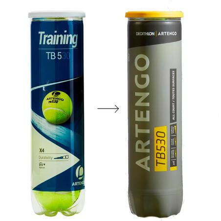 Balle de tennis TB530 jaune *4