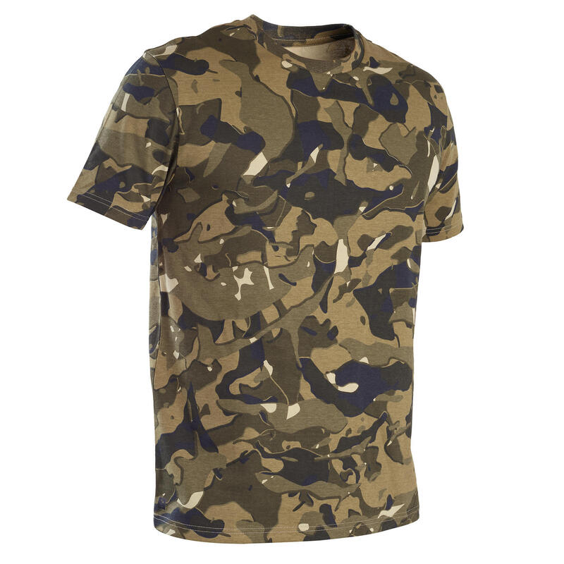 T-shirt manches courtes chasse 100 camouflage WL V1 vert