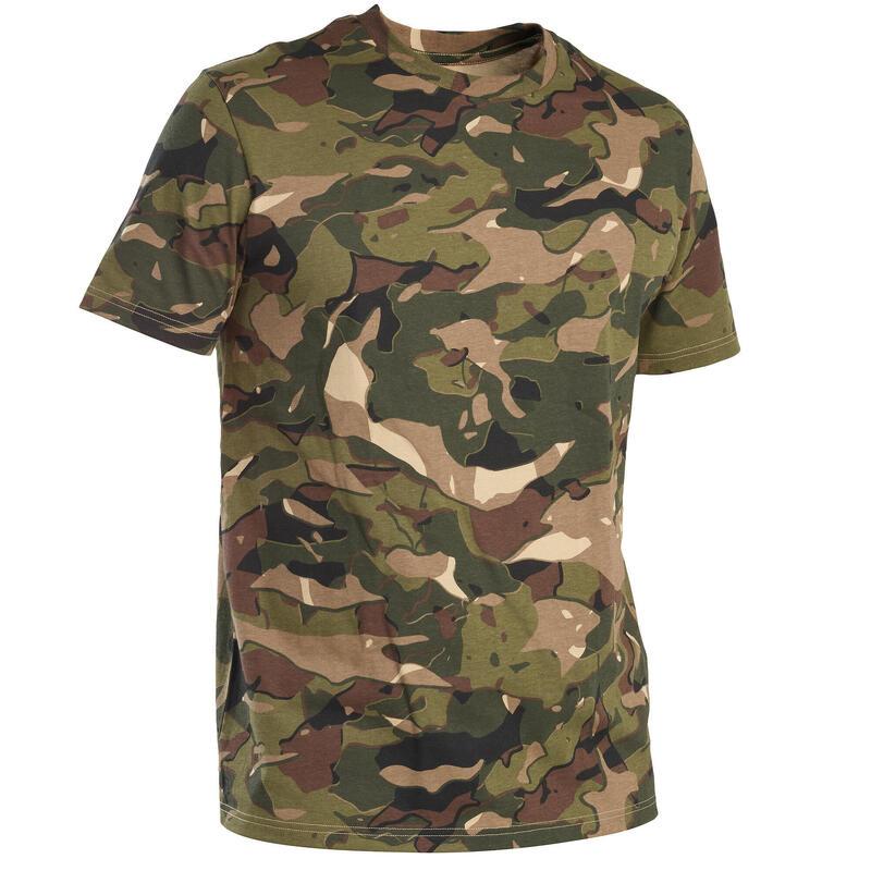 T-shirt manches courtes chasse 100 camouflage WL V1 vert et marron