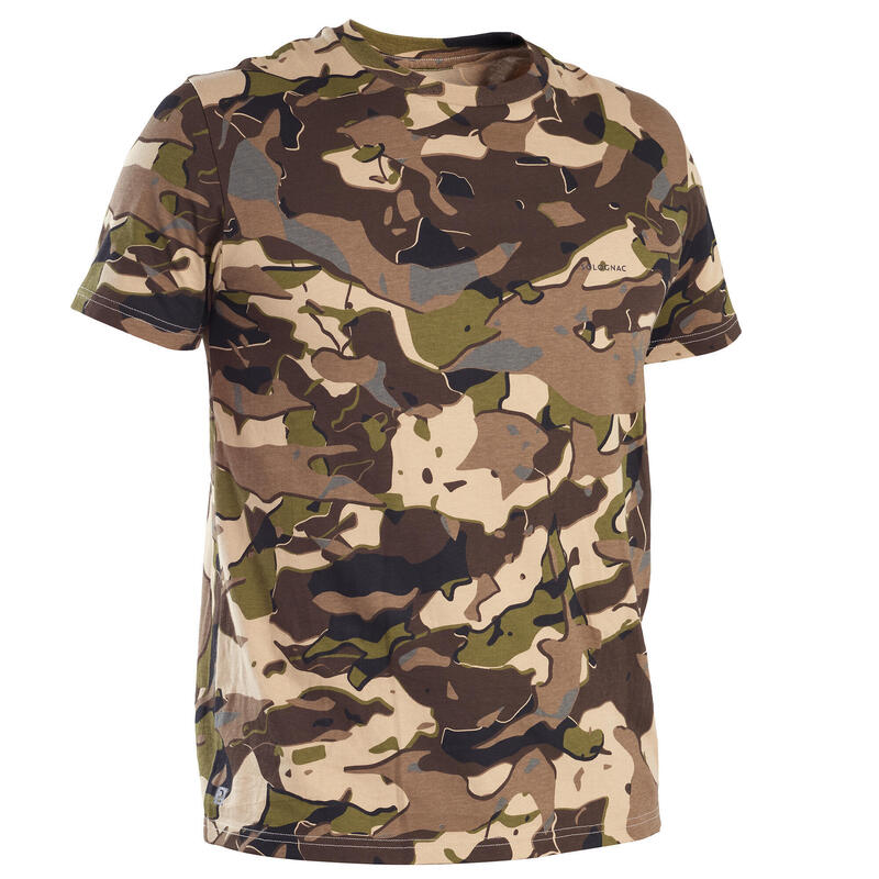 T-shirt manches courtes chasse 100 camouflage WL V1 marron