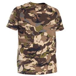 T-shirt de Caça 100 Camuflagem WL V1 Castanho