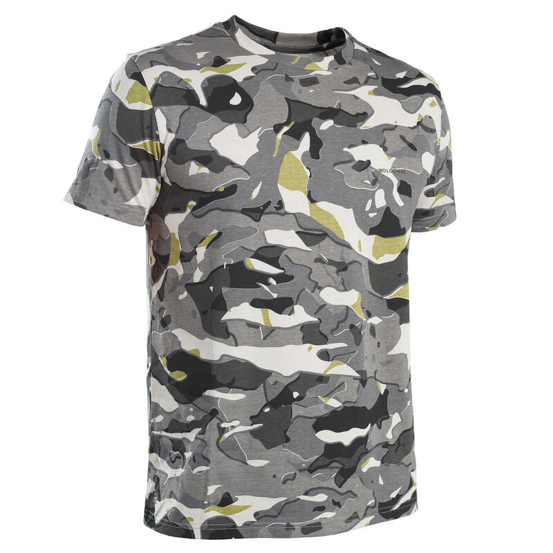T-shirt manches courtes chasse 100 camouflage WL V1 gris