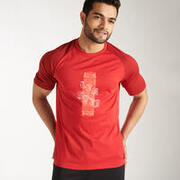MEN'S CRICKET T-SHIRT QUICK DRY CT 500 RED
