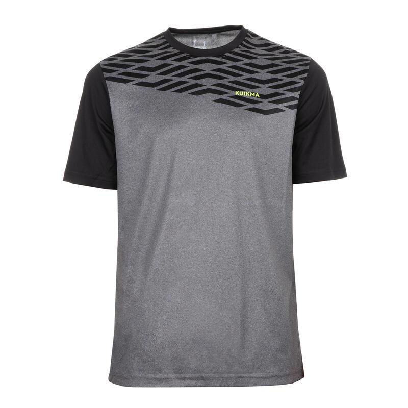 T-shirt voor padel heren PTS 500 grijs zwart
