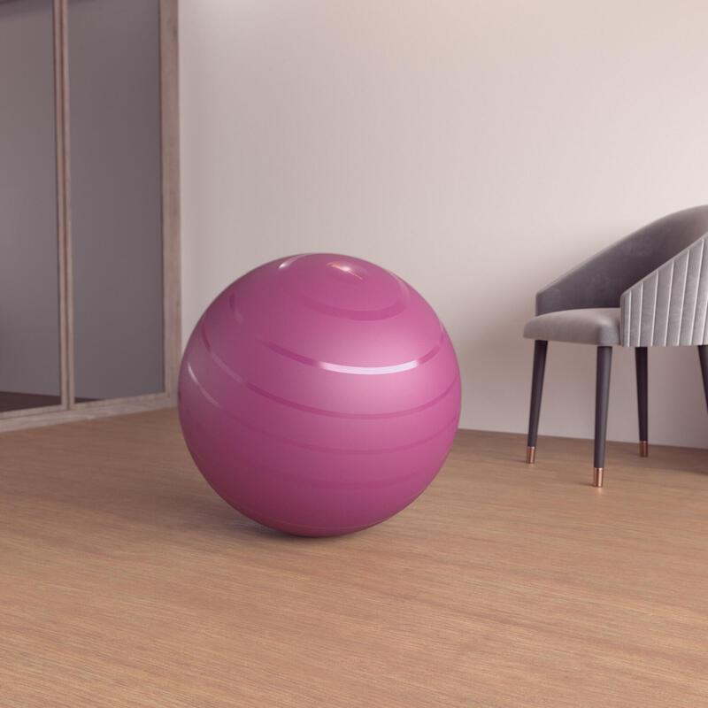 Stevige gymbal voor fitness 65 cm maat 2 bordeaux