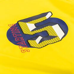 兒童款籃球T恤TS500-黃色Starting 5字樣