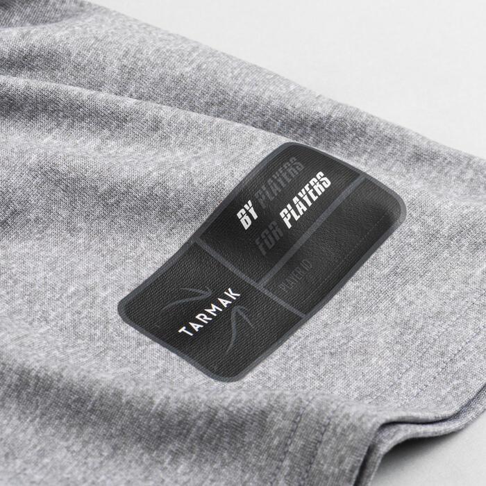 兒童款中階籃球T恤TS500 Fast-灰色鞋子圖案