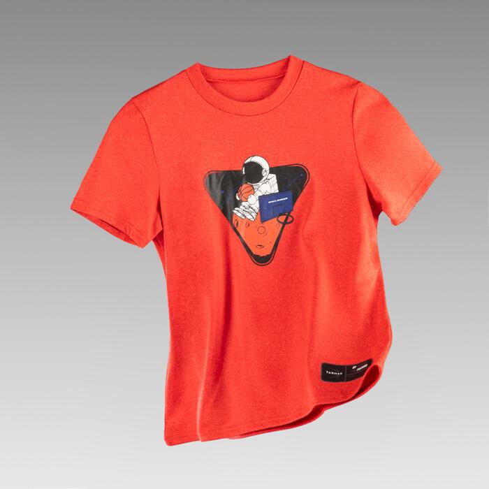 兒童款籃球T恤TS500 NS - 紅色太空人圖案