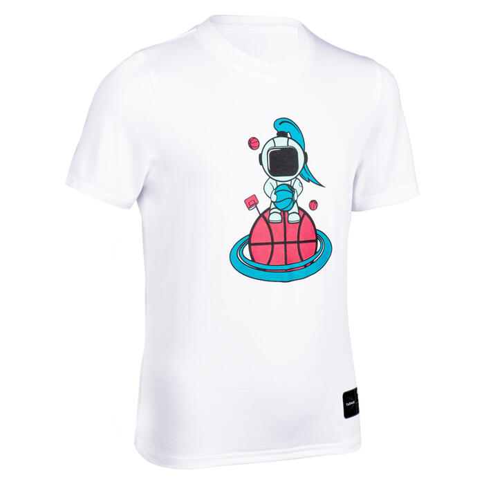 Girls'/Boys' Basketball T-Shirt TS500 Fast - Cosmo White