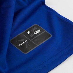 兒童款籃球T恤TS500-藍色Dunkers字樣