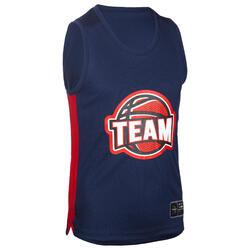 兒童款籃球運動衫T500 - 海軍藍配紅色Team