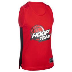 Boys'/Girls' Sleeveless Basketball Jersey T500 - Red/Hoop Team