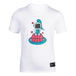 兒童款籃球T恤TS500 Fast-白色太空人圖案