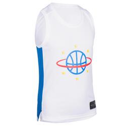 Kids' Sleeveless Basketball Jersey T500 - White/Blue/Ball Planet
