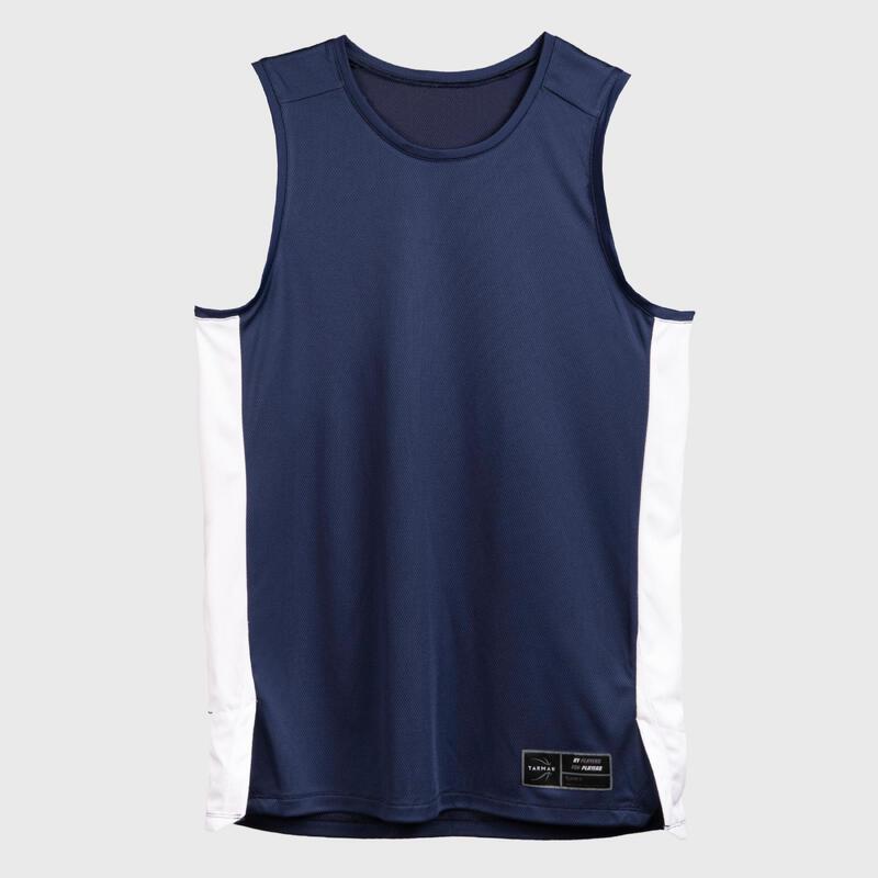 Mouwloos basketbalshirt voor heren T500 donkerblauw/wit