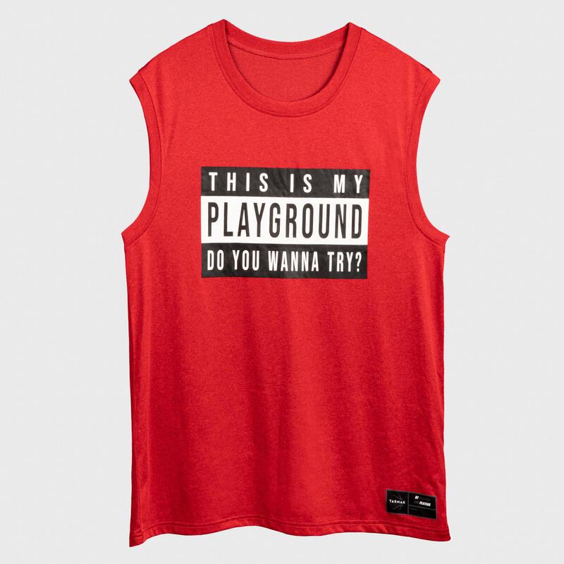 籃球無袖T恤/球衣TS500 - 紅色This is My Playground字樣