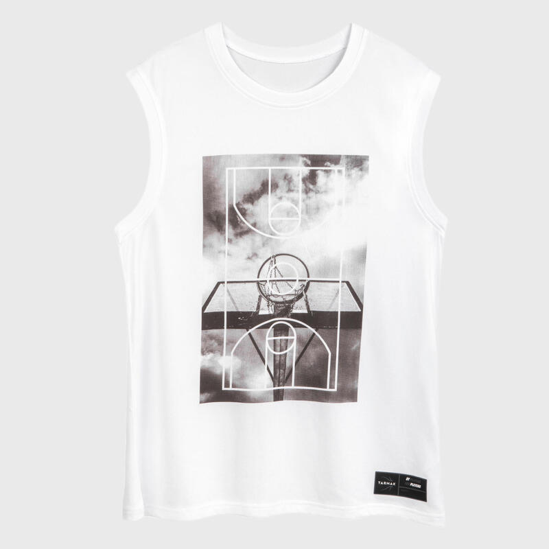 Mouwloos basketbalshirt voor heren TS500 wit Ground